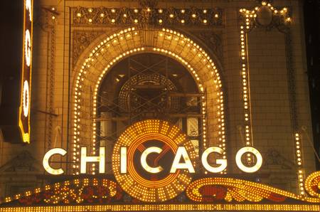 Detail of Neon Sign on Chicago Theater, Chicago, Illinois