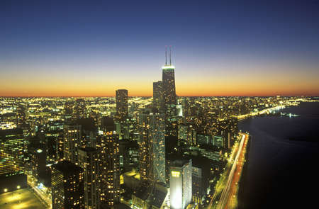 The Chicago Skyline at Night, Chicago, Illinois