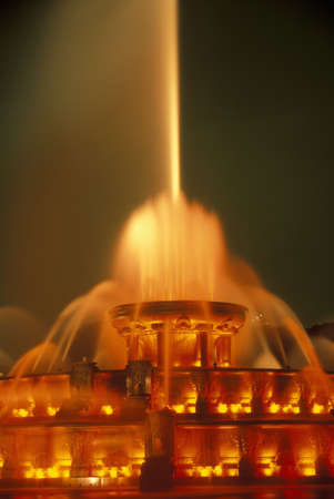 Buckingham Fountain in Grant Park at night, Chicago, Illinois