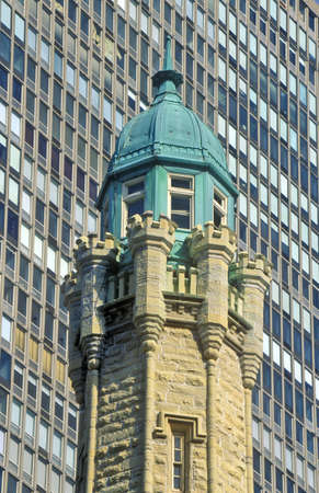 contrasting: Top of the Water Tower, Chicago, Illinois