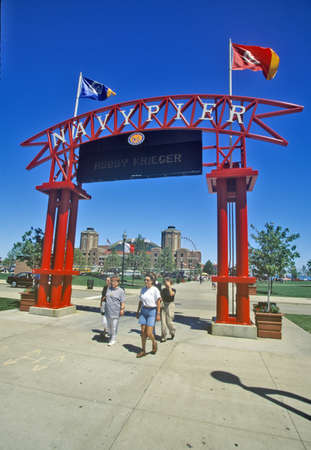 sightseers: Entrance to Navy Pier, Chicago, Illinois