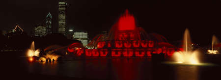 Panoramic view of Grant Park and Buckingham Fountain at night, Chicago, IL
