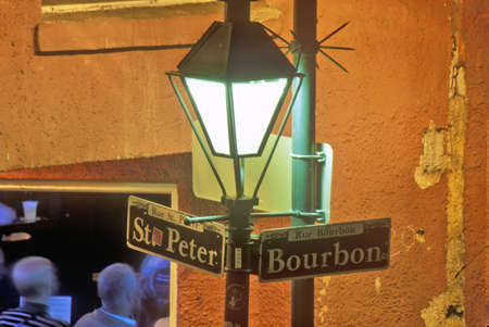 bourbon street: Corner of Bourbon and St. Peter Streets, New Orleans, Louisiana Editorial