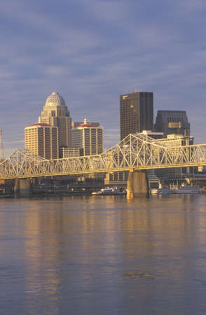 Ohio River and Louisville skyline, KY shot from Indiana