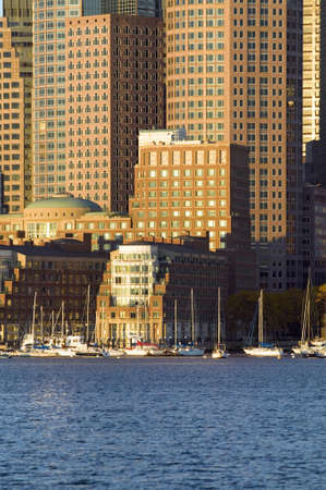 charles county: Boston Harbor and the Boston skyline at sunrise as seen from South Boston, Massachusetts, New England