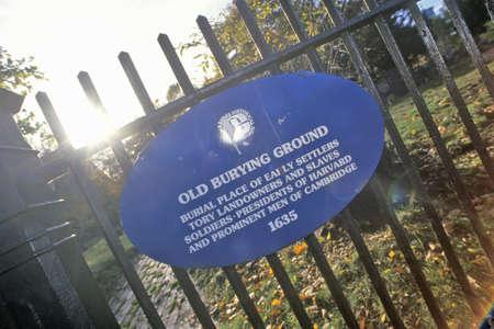 burying: Sign of Old Burying Ground, Cambridge, Massachusetts
