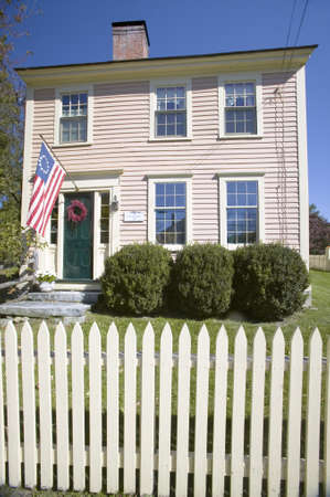 middlesex: Revolutionary home with picket fence in historic Concord, Massachusetts, New England Editorial