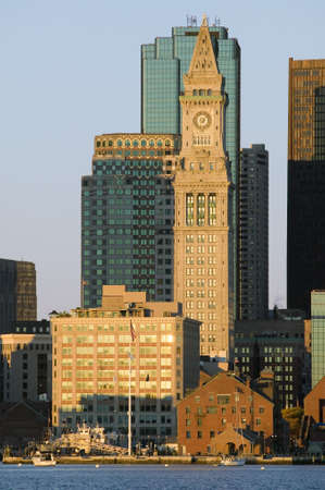 charles county: The Customs House Clock Tower and Boston skyline at sunrise, as seen from South Boston, Massachusetts, New England