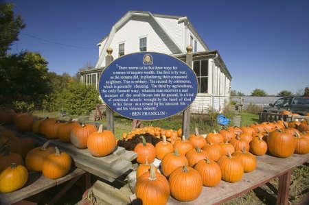ben franklin: Ben Franklin proverb on sign next to pumpkin stand at Halloween in Lexington Massachusetts, New England