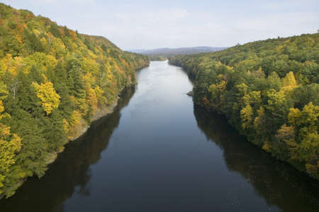 Connecticut River and autumn color on the Mohawk Trail of western Massachusetts, New England