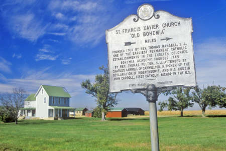 francis: Sign for St. Francis Xavier Church, Maryland