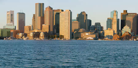 charles county: Panoramic of Boston Harbor and the Boston skyline at sunrise as seen from South Boston, Massachusetts, New England