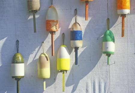 buoys: Close up of colorful lobster buoys, Muscongus Bay in New Harbor ME