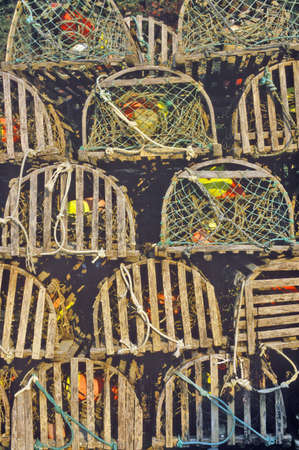 Stacks of lobster traps, Muscongus Bay in New Harbor, ME