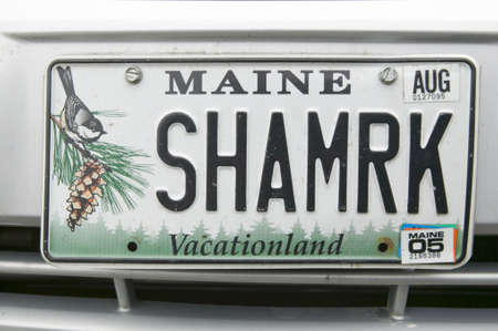 license plate: A Maine license plate reads, SHMRK