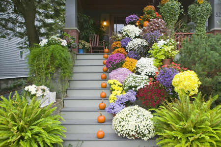 A fall decorated porch near Portland, Maine