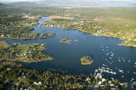 Aerial views of surrounding region of Acadia National Park, Maine in autumn