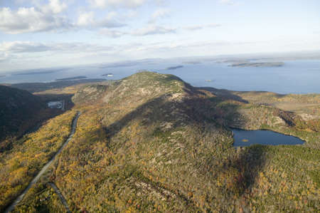 Aerial view of 1530 foot high Cadillac Mountain, Porcupine Islands and Frenchman Bay, Acadia National Park, Maine