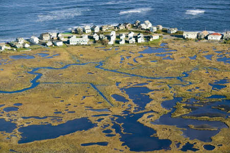 rural development: Aerial view of marsh and Rachel Carson Wildlife Sanctuary in Wells, south of Portland, Maine