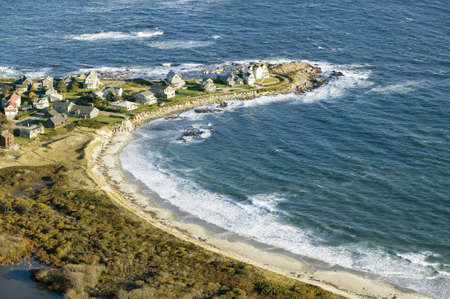 oceanfront: Aerial view of ocean-front homes on coast of Maine, near Walker-Point, summer home of President George H. W. Bush
