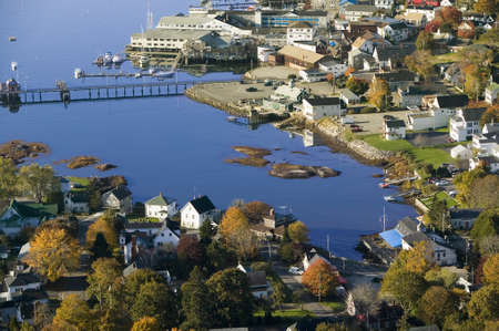 Aerial view of Boothbay Harbor on Maine coastline Sajtókép