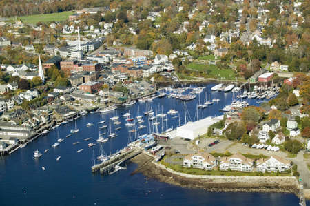 bar: Aerial view of Bar Harbor in autumn, Maine