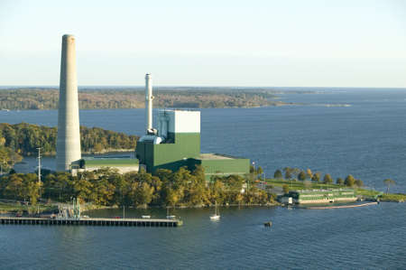 Aerial view of power plant on Cushing Island, Portland, Maine