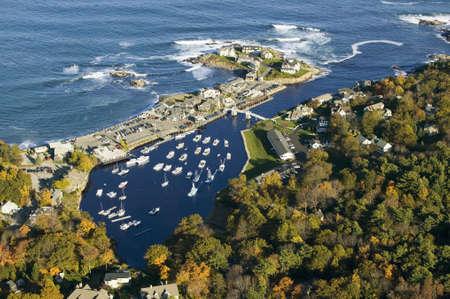 Aerial view of Perkins Cove near Portland, Maine Editorial