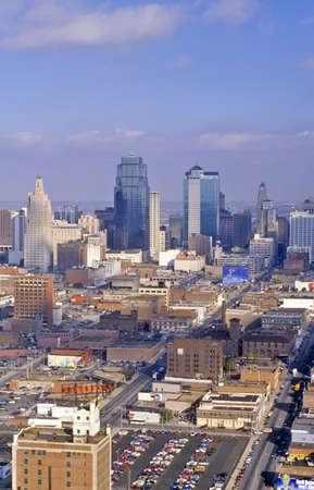 Aerial of Kansas City skyline, MO Editorial