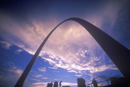 st  louis arch: St. Louis Arch at Sunset with Eads Bridge, MO