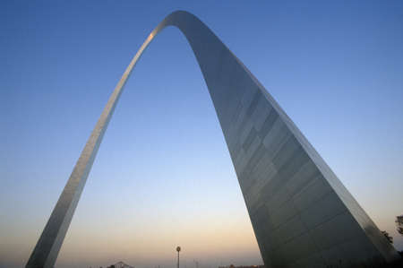 mo: St. Louis Arch at Sunset with Eads Bridge, MO