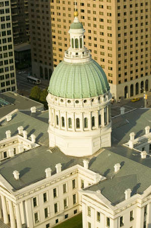 Elevated view of dome of Saint Louis Historical Old Courthouse, Federal Style architecture built in 1826 and site of Dred Scott slave decision, St. Louis, Missouri Editorial