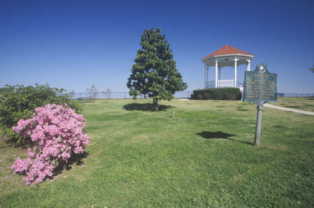 ms: Pink Magnolias in Natchez, MS - sign and gazebo in roadside park overlooking MS River Editorial