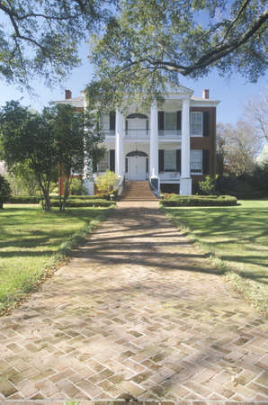 ms: Sidewalk leading to Rosalie mansion in historic Southern Natchez, MS