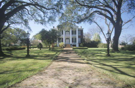 Sidewalk leading to Rosalie mansion in historic Southern Natchez, MS