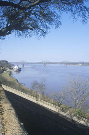 MS River and Steamboat gambling in Natchez, MS from river overlook