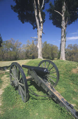 Civil War cannon on green grass at Vicksburg National Military Park, MS