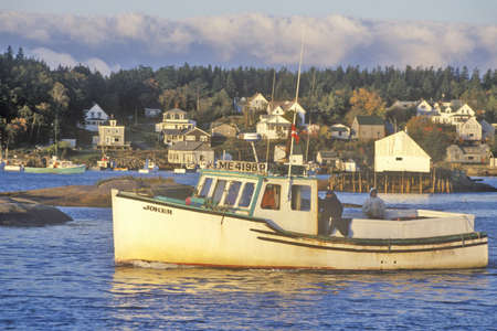 lobster boat: View of boat in harbor in Lobster Village, ME, Mount Desert Island