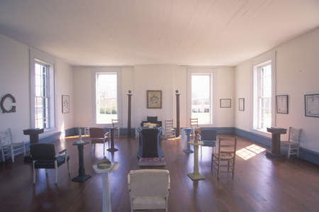 ms: Interior view of little red schoolhouse in Richland, MS, birthplace of Freemasonrys Order of Eastern Star Editorial