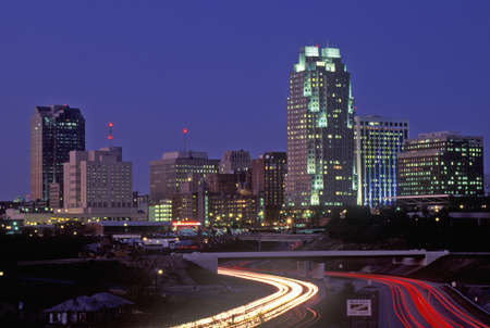 nc: Skyline of Raleigh, NC at night
