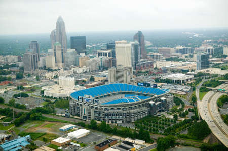 nc: Aerial view of Ericcson Stadium and Charlotte, NC
