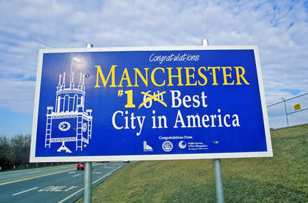Road sign in Manchester, NH, Best City in America