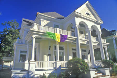 the deep south: Home in Biloxi, MS with Mardi Gras decorations