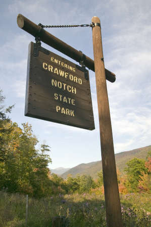 notch: Sign reads Entering Crawford Notch State Park, New Hampshire