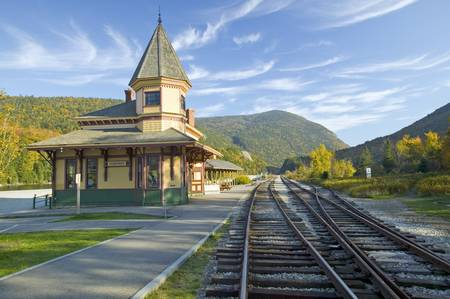 Crawford Depot along the scenic train ride to Mount Washington, New Hampshire 新闻类图片
