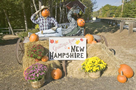 notch: A festive display and sign greets visitors along Crawford Notch, New Hampshire
