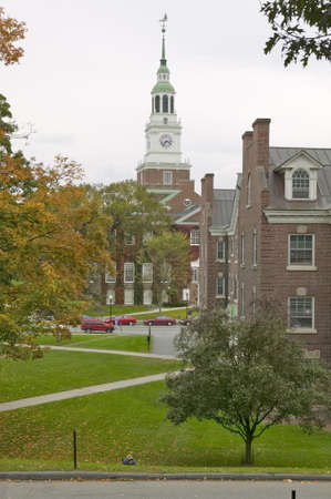 A metal sculpture stands in front of the Baker Tower on the campus of Dartmouth College in Hanover, New Hampshire Editorial