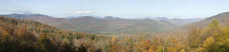 notch: Panoramic view of Crawford Notch State Park in White Mountains of New Hampshire, New England