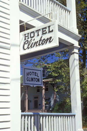 advertise with us: Hotel Clinton sign on porch in Cape May, NJ