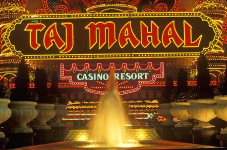 atlantic city: Neon sign outside of Donald Trumps Taj Mahal Casino in Atlantic City, NJ